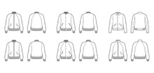 Set Of Bomber Jackets Technical Fashion Illustration With Rib Baseball Collar, Cuffs, Oversized, Long Raglan Sleeves, Flap Pockets. Flat Coat Template Front, Back White Color. Women Men Unisex Top CAD