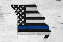 American Thin Blue Line Flag On Map Of Missouri