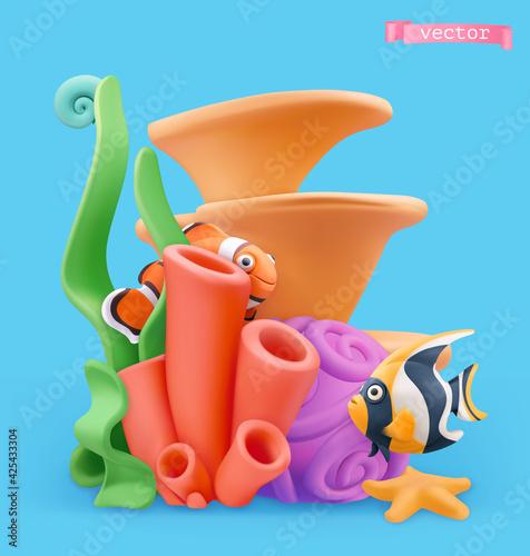 Obraz Coral reef and fish. 3d vector cartoon illustration. Plasticine art objects - fototapety do salonu