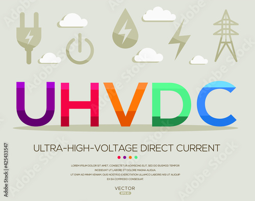 Tela UHVDC mean (ultra high voltage direct current) Energy acronyms ,letters and icons ,Vector illustration