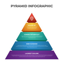 4 Point, Bullet, List Pyramid Diagram, Business Infographic Element Template Vector, Can Be Used For Social Media Post, Presentation, Etc.