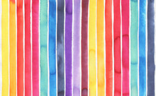 Watercolor Background With Colorful Stripes Of Various Colors: Yellow, Orange, Red, Rose, Turquoise, Blue, Navy, Violet, Lilac, Mauve And Bordo Shades. Handdrawn Watercolour Graphic Painting On White.