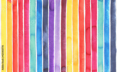 Obraz na plátně Watercolor background with colorful stripes of various colors: yellow, orange, red, rose, turquoise, blue, navy, violet, lilac, mauve and bordo shades