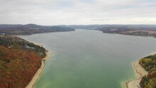 Aerial Drone View Of Reservoir Domasa