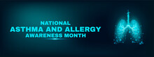 Lungs. World Asthma And Allergy Awareness Month Concept. Banner Template With Glowing Low Poly Lungs. Futuristic Modern Abstract. Dark Background. Vector Illustration..