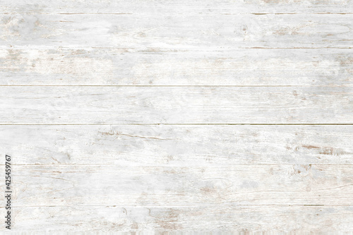 Obraz Weathered white painted wooden wall. Vintage white wood plank background. Old white wooden wall. - fototapety do salonu