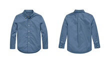 Blue Blank Classic Shirt. Front And Back View