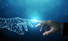 Hand Of Businessman Touching Hand Artificial Intelligence Meaning Technology Connection Go To Future