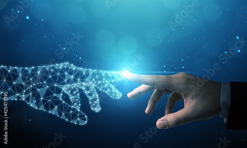 Fotografía Hand of businessman touching hand artificial intelligence meaning technology con