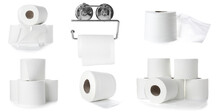 Set Of Toilet Paper On White Background