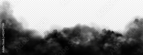 Fototapeta Black smoke clouds, dirty toxic fog or smog. Vector realistic illustration of dark steam, smoky mist from fire, explosion, burning carbon or coal. Black fume texture isolated on transparent background obraz