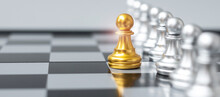 Golden Chess Pawn Pieces Or Leader Businessman Stand Out Of Crowd People Of Silver Men. Leadership, Business, Team, Teamwork And Human Resource Management Concept