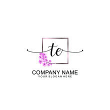 TE Initials Handwritten Minimalistic Logo Template Vector