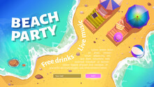 Beach Party Banner With Summer Sea Shore With Sunbeds And Umbrellas. Vector Website Template With Cartoon Illustration Of Sand Ocean Beach With Inflatable Ball In Water And Deck Chairs