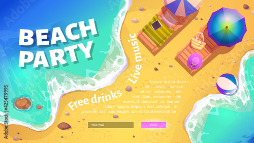 Fotografering Beach party banner with summer sea shore with sunbeds and umbrellas