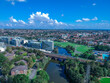Panoramic Aerial Drone view of Cooks River in Western Suburban Sydney NSW Australia