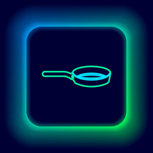 Glowing Neon Line Frying Pan Icon Isolated On Black Background. Fry Or Roast Food Symbol. Colorful Outline Concept. Vector