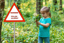 Warning Sign: Danger! Pollen Allergy. Little Girl In The Forest With A Bouquet Of Lilies Of The Valley