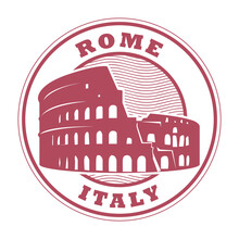 Stamp With Roman Colosseum And The Word Rome, Italy Inside