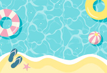 Summer Vector Background With Beach Illustrations For Banners, Cards, Flyers, Social Media Wallpapers, Etc.