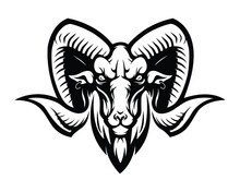 Monochrome Serious Ram Head Vector Isolated. Ram Or Mountain Goat With Horns Tattoo Vector.