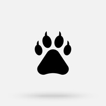 Dog Paw Vector Footprint Icon French Bulldog Cartoon Character Symbol Illustration Doodle Design. Dog Paw Print Flat Vector Icon For Animal Apps And Websites.
