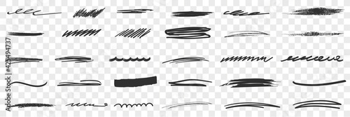 Fototapeta Thick and thin Scribbles lines drawings doodle set. Collection of hand drawn scribbles of various patterns and thickness lines geometrical shapes isolated on transparent background obraz