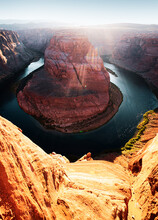 Horseshoe Bend, Colorado River. Grand Canyon, Page, Arizona, Sunset.