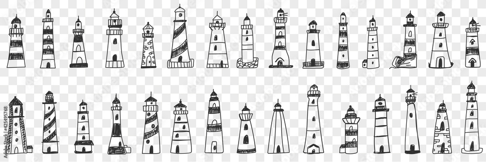 Fototapeta Lighthouse buildings in sea doodle set. Collection of hand drawn various facades of lighthouse buildings in sea or ocean shining lights isolated on transparent background