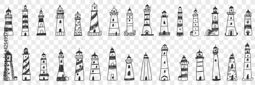 Fototapeta Lighthouse buildings in sea doodle set. Collection of hand drawn various facades of lighthouse buildings in sea or ocean shining lights isolated on transparent background obraz