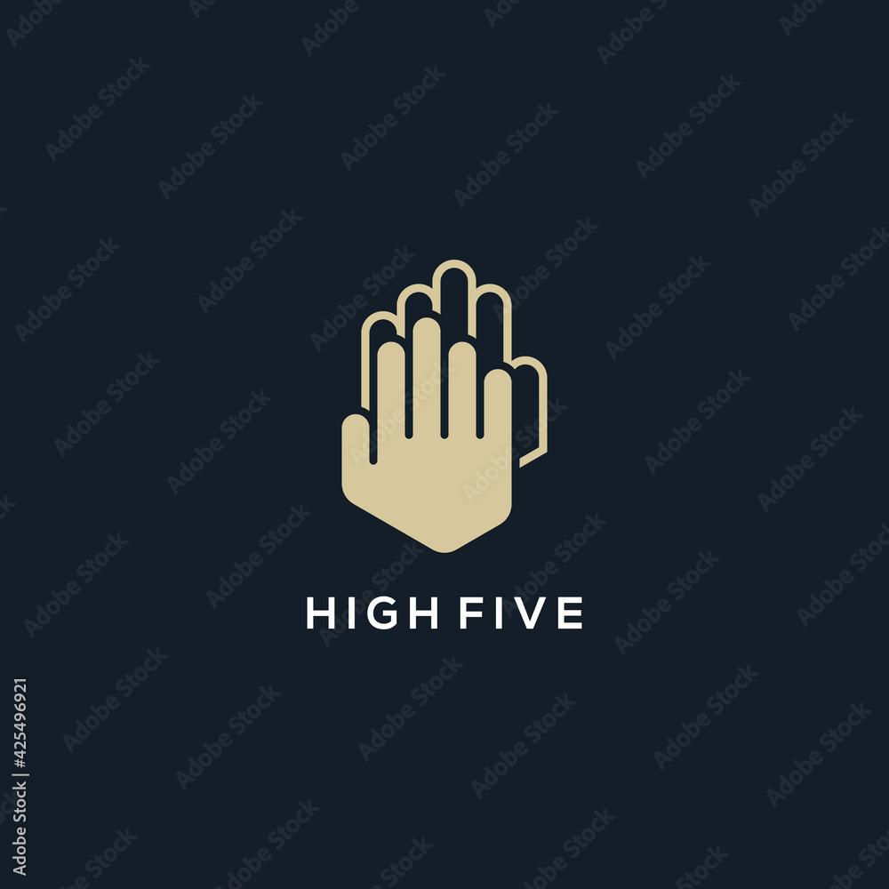 Fototapeta high five hand logo abstract