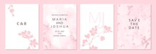 Set Of Spring Backgrouds With Sakura Branch. Cherry Blossoms. Design For Card, Wedding Invitation, Cover, Packaging, Cosmetics. Pink, Blush Watercolor Background.