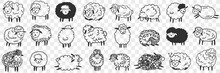 Funny White And Black Sheep Animals Doodle Set. Collection Of Hand Drawn Various Funny Cute Fluffy Sheets In Farms In Different Poses Enjoying Life Isolated On Transparent Background