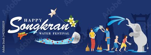 Obraz Thailand's Water Festival, Songkran Banner with people splashing water. Vector - fototapety do salonu
