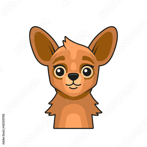 Fototapeta premium Cute Lama Face Cartoon Style on White Background. Vector