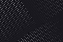 Neutral Silver Lines On Black Background For Advertising, Device, Presentation Web, App, Landing. Geometric Vector Editable Modern Composition Of Thin Diagonal Linear Backgrounds In Abstract Style.