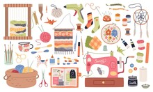 Handmade Crafts. Creative Accessories, Consumables And Tools, Hobbies Workshop Items. Sewing Machine And Yarn, Ceramic And Origami. Embroidery, Weaving And Knitting. Vector Cartoon Set