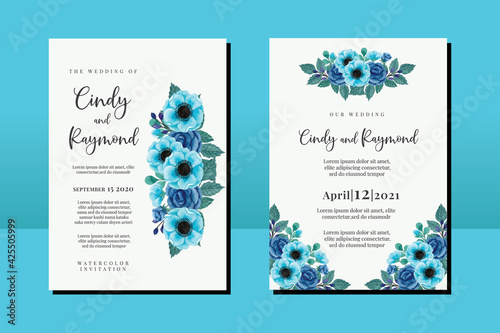Canvas Wedding invitation frame set, floral watercolor hand drawn Blue Rose and Anemone