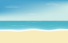 Sea, Sand With Blue Sky And Cloud Lanscape Vector Illustration Summer Background For Flyers, Bunners, Presentations And Poster