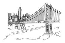 Vector Sketch Of Manhattan Bridge, New York, USA.