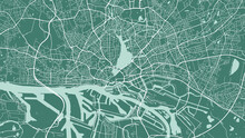 Green Vector Background Map, Hamburg City Area Streets And Water Cartography Illustration.