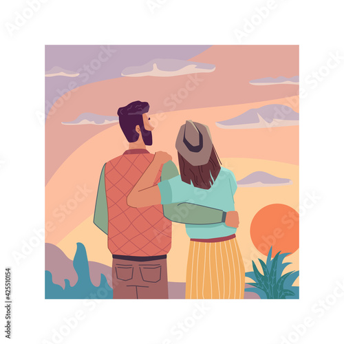Obraz Sunrise or sunset landscape, flat cartoon travel people looking at sky, back view. Vector couple in love observation nature and dreaming together. Evening dreams, inspiration and imagination - fototapety do salonu