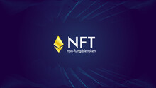 Ethereum Golden Sign On Futuristic Neon Purple Background, Text NFT Non Fungible Token, Cryptocurrency Banner. Stock Vector Illustration.