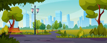 Summer Or Spring Park Sidewalks Flat Color Illustration. Vector Road Near Lawn With Green Grass, Trees And Bushes. Bench And Street Lamp, Landscape With Skyline Cityscape House Buildings On Background