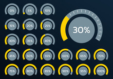 Percent Chart Set. Percentage Gauge Meter For Business Infographics. Loading Speedometer With Progress Bar. Vector Illustration.