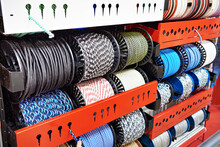 Bobbins Of Colored Rope And Chains In Store