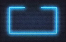 Neon Frame Sign. Realistic Blue Signboard Glowing Design Template