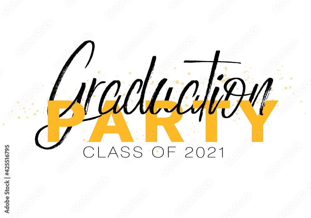 Fototapeta Graduation label. Lettering Class of 2021 for greeting, invitation card