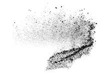 Black Grainy Texture Isolated On White Background. Dust Overlay. Dark Noise Granules. Digitally Generated Image. Vector Design Elements. Illustration, Eps 10.