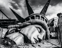 The Iconic Image Of The Statue Of Liberty Destroyed - The End Of The World - Apocalyptic Vision Of The Future World - Disaster Concept For Climate Change, Global War, Terrorism Or Alien Attack